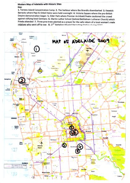 Map of Adelaide with key historic sites