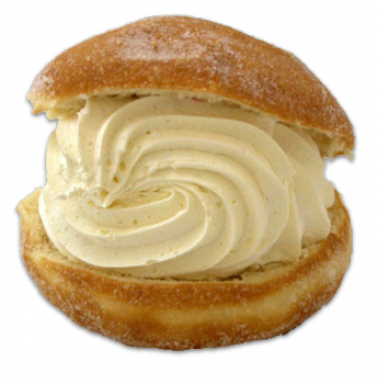 Kitchener bun - jam roll with cream inside.