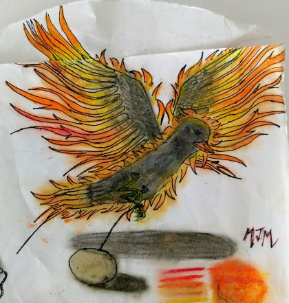 Drawing of a blackbird taking off with wings that resemble fire